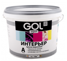 Краска влагостойкая акриловая Белая 35кг GOL для стен и потолков Gol.167-35