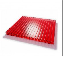 Сотовый поликарбонат  4мм 2,1х12м красный УЛЬТРАПЛАСТ