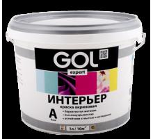 Краска влагостойкая акриловая Белая  1,4кг GOL для стен и потолков Gol.167-1,4